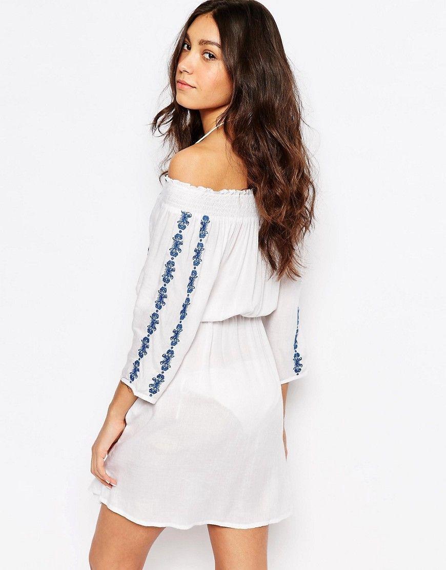 c85d9a94a9c92 Akasa Embriodered Bardot Beach Dress | Pinterest | Beach dresses ...
