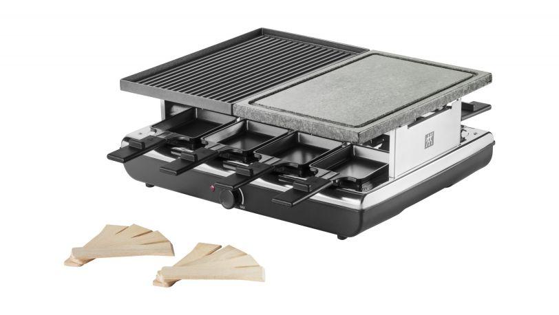 Zwilling Küchenhelfer ~ Raclette tischgrill alu und steinplatte 8 pfännchen