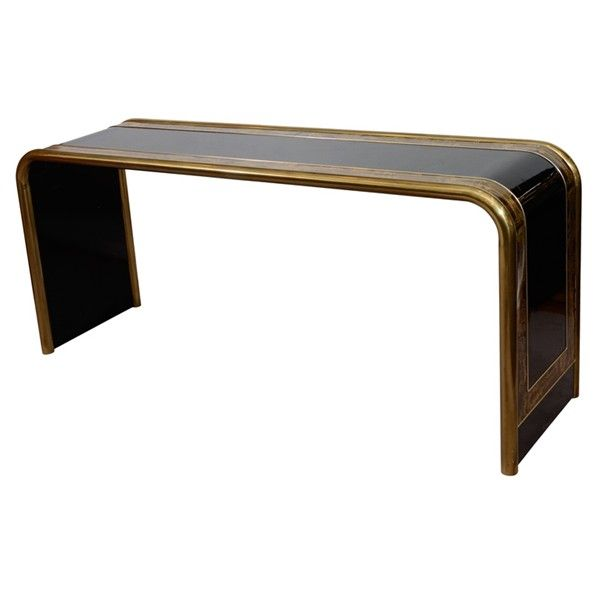 Mid Century Acid Etched Waterfall Console Table by Mastercraft