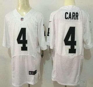 Men's Oakland Raiders #4 Derek Carr White Road 2015 NFL Nike Elite Jersey