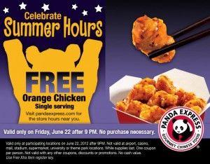 Panda Express Printable Coupon Free Single Serve Of Orange Chicken Friday 6 22 With Images Orange Chicken Panda Express Panda Express Orange Chicken