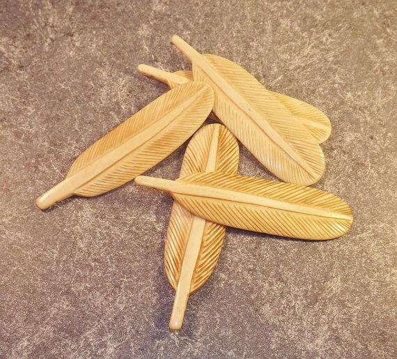 Carved Bone Feather Pendant Large 5 Focal By Pturnbullandbishop Bone Carving Bone Feathers Feather Pendant