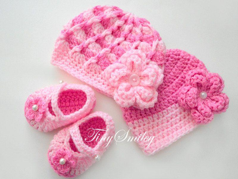 Newborn Set, Baby Girl Hats, Crochet Newborn Set, Crochet Baby Set, Pink Baby Set, Crochet Girl Booties, Newborn Booties, Crochet Baby Shoes