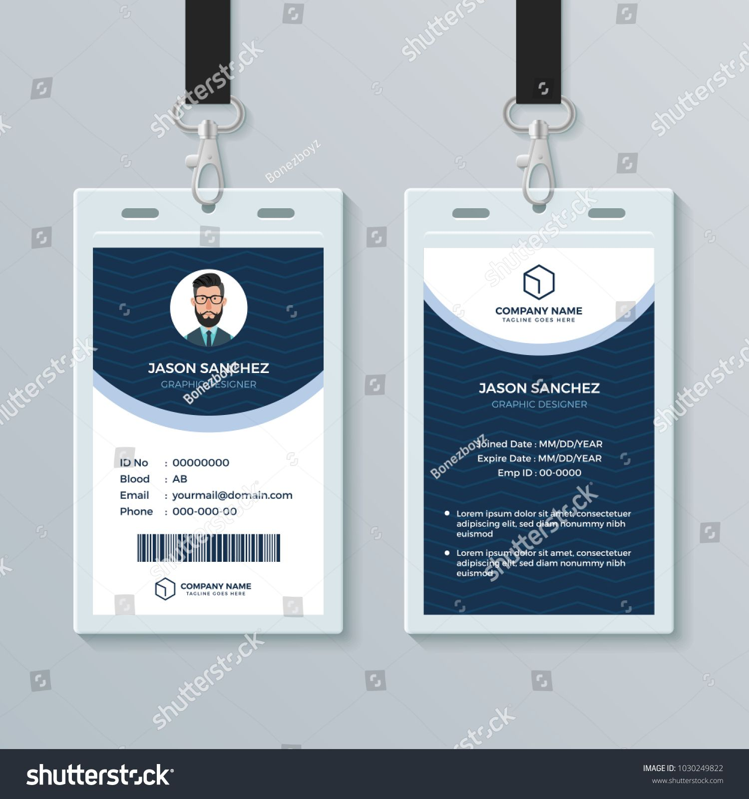Clean And Modern Employee Id Card Design Template Employee Modern Clean Id In 2020 Employee Id Card Id Card Template Card Design