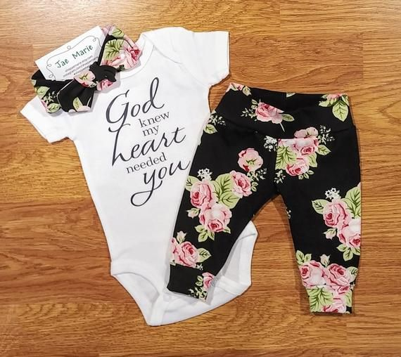 Photo of God knew my heart needed you, Baby Girl, Going Home Outfit, shower gift, floral, coming home, religious, baptism, Catholic, Christian