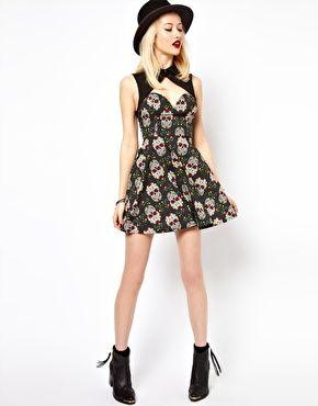 088f403d1b4 Vestido con estampado de calaveras de Freak Of Nature Dress