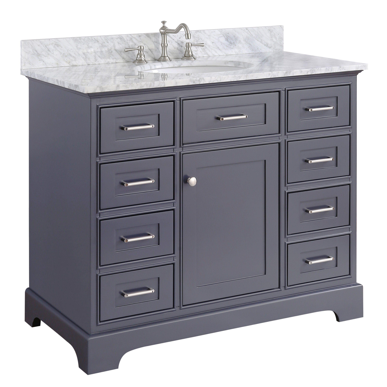 Aria 42 Inch Vanity Carrara Charcoal Gray Kitchenbathcollection Bathvanity Dreambath Bathro 42 Inch Bathroom Vanity 42 Inch Vanity Single Bathroom Vanity