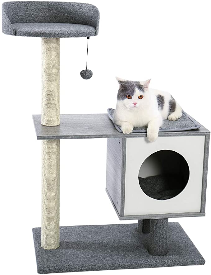 Kitten Scratching Post|Wood Cat Furniture MODERN CAT TREE With Scratching Posts 2 Luxury Condos For Large Perch for Medium To Large Cats