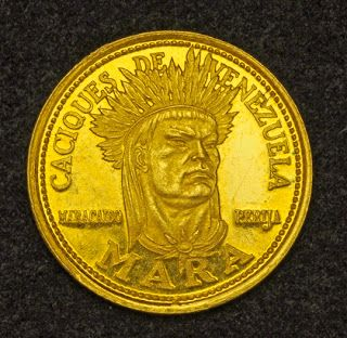 Venezuela 5 Bolivares Gold Coin Of 1962 Indian Chief Mara 16th Century Brave Indian Chiefs Series Of Venezuela Gold Coins Coins Old Coins
