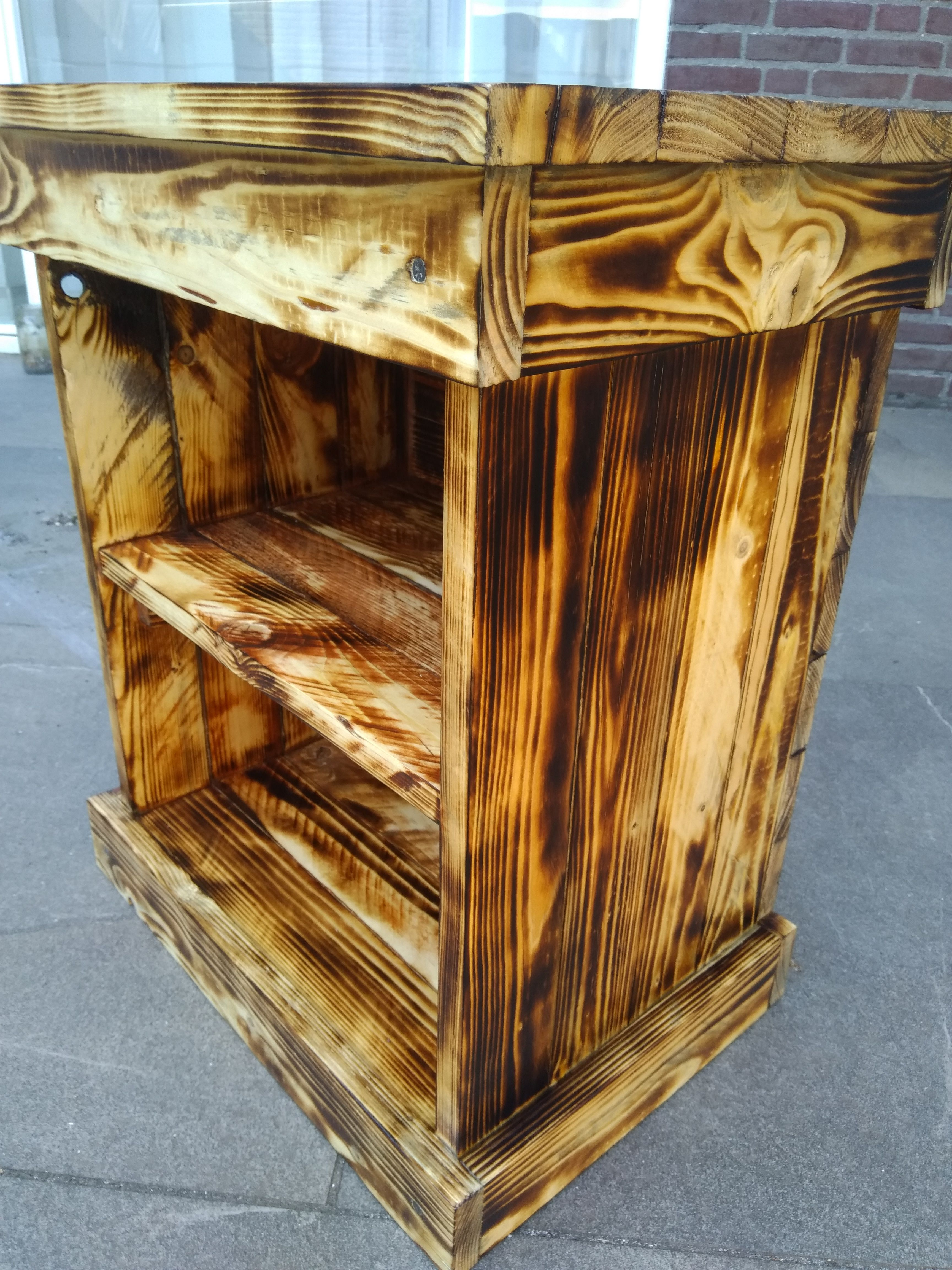 Rustic Wood Bedside Table: Rustic Pallet Wood Bedside Table, Solid Wooden Storage