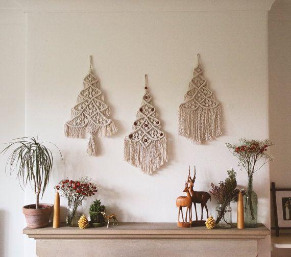 Article De Noel Fait à la main en macramé arbre de Noël décoration murale   prêt