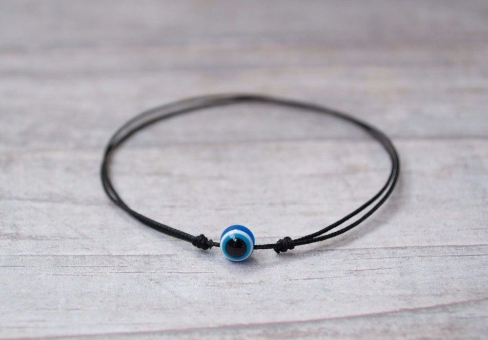 Blue Evil Eye Bracelet. Black String Bracelet. Good Luck Amulet, Talisman. Knots #Handmade #Friendship