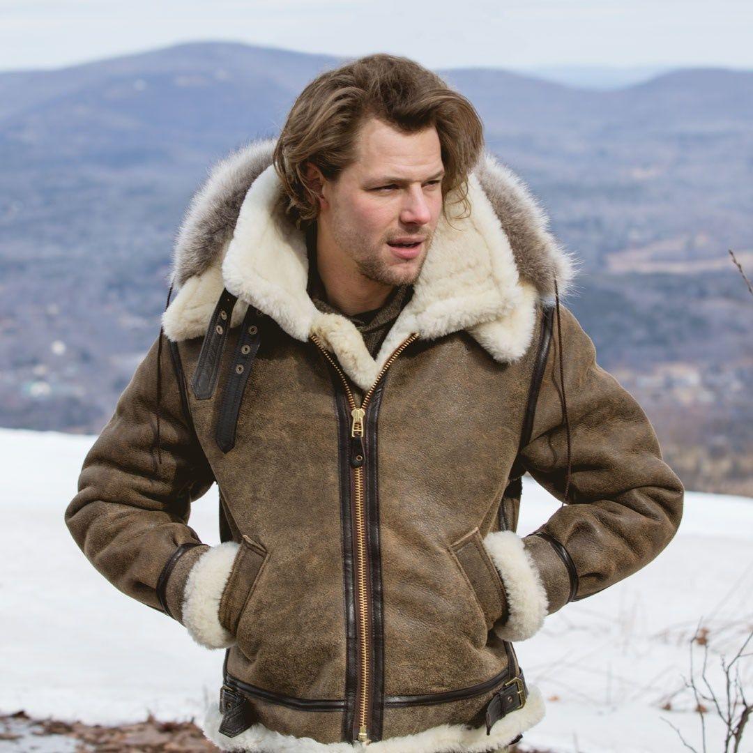 Man in B3 Hooded Sheepskin Bomber Jacket Bomber jacket