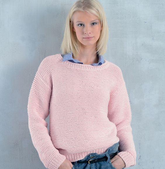besoin d 39 une id e facile tricoter r alisez le pull manches longues uni au tricot et. Black Bedroom Furniture Sets. Home Design Ideas
