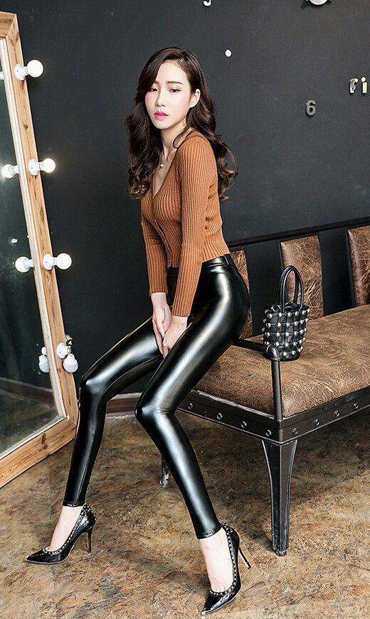 Lederlady | Leder leggings, Kleidung, Leggins
