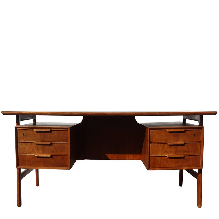For Sale On 1stdibs 20th Century Danish Writing Desk Made Of Cherry And Beechwood With Three Drawers On Each Side Circa 1960 Desk Writing Desk Modern Desk