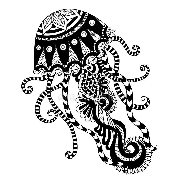 Hand Drawn Jellyfish Zentangle Style For Coloring Book Shirt Design Or Tattoo Aff Zentangle Mandala Coloring Pages Animal Coloring Pages Tribal Drawings