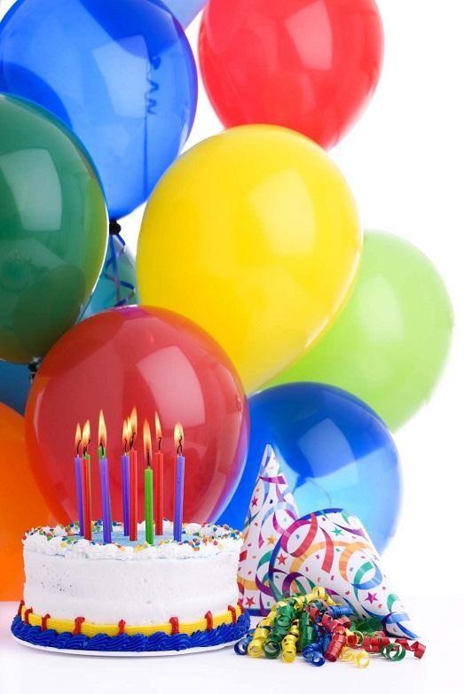 Маме, картинки день рождения шарики и торт