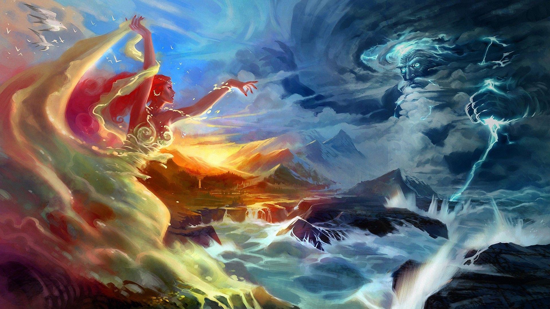 foam fantasy art battles artwork lightning sea Wallpaper