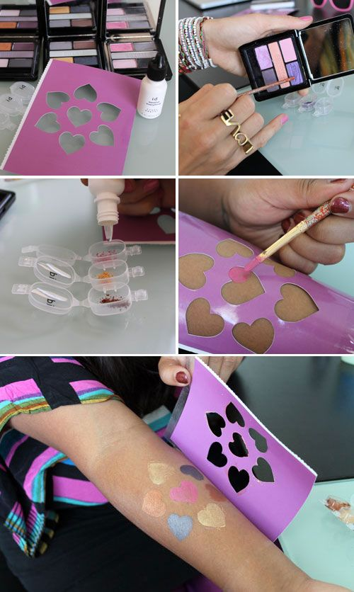 You can use eyeshadow, liner sealer, and a stencil to create ...