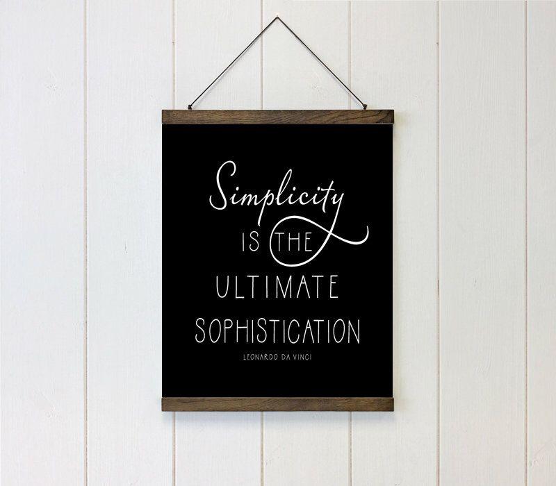 Simplicity is the ultimate sophistication schoolhouse bars hanging canvas art leonardo da vinci quote wall art wall decor