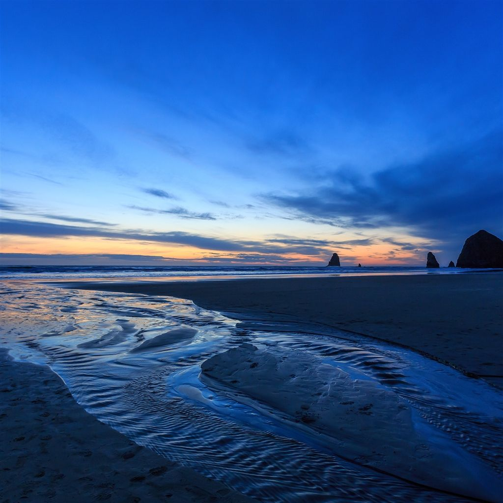 Sunset Oregon Beach iPad Air Wallpaper Beach sunset