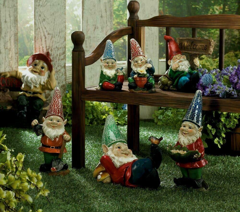 OUTDOOR LAWN GARDEN Miniature GNOMES Statue
