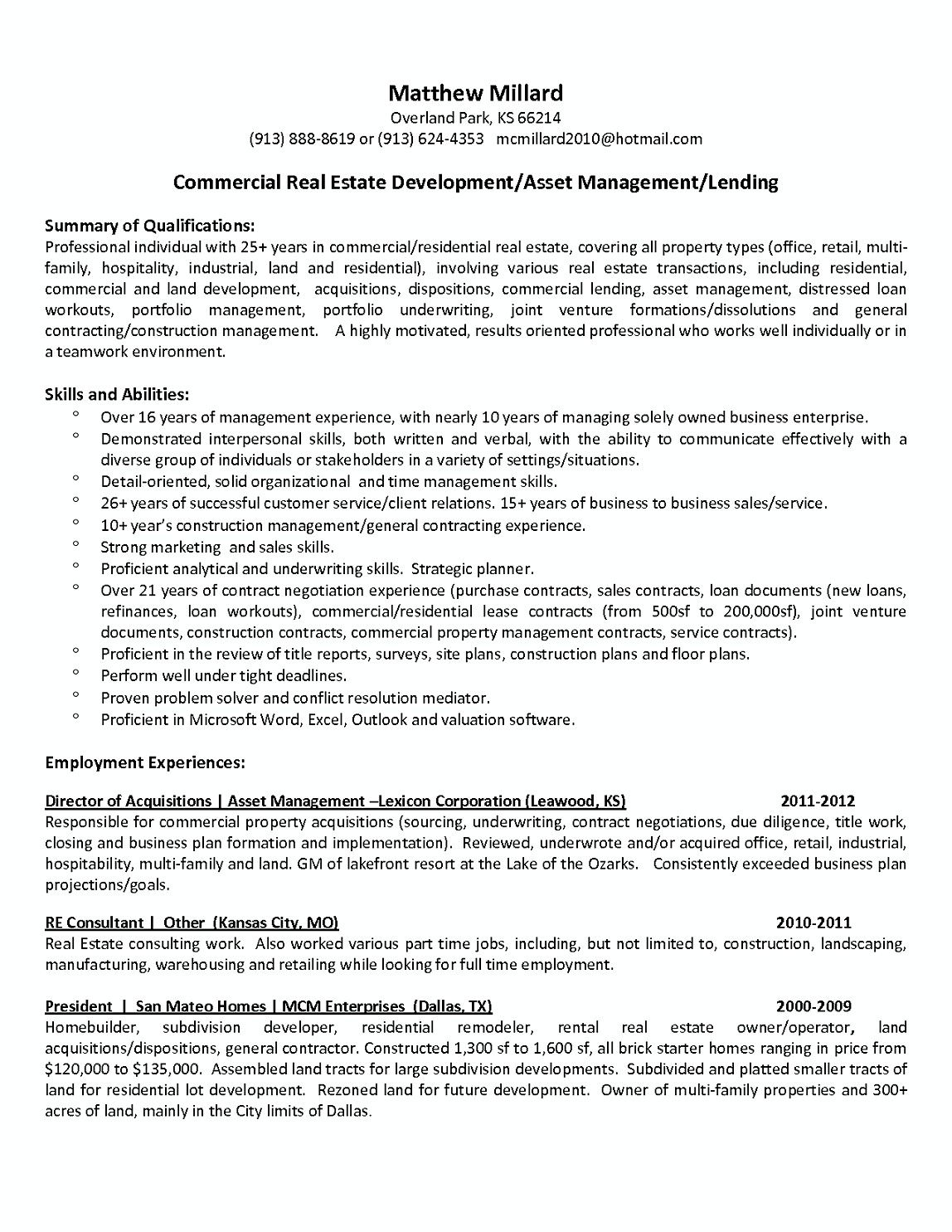 Commercial Property Manager Resume Jobb