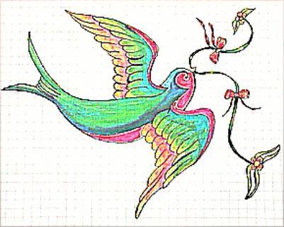 Dibujo de pájaro colorido. El dia que supere mis problemas con la perspectiva seré muy feliz