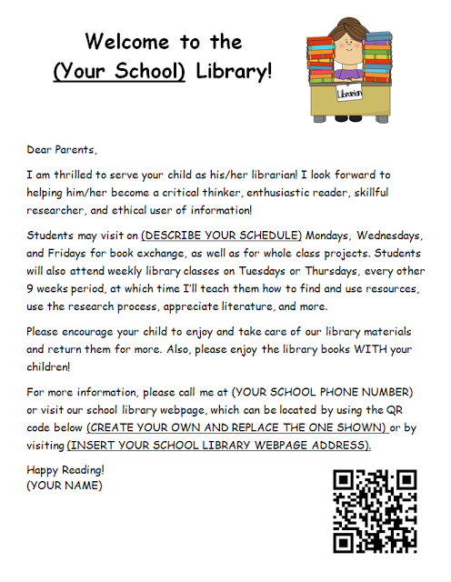 Library Welcome Letter To Parents Back To School Free And