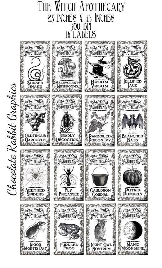 Witch Halloween Potion Bottle Label Clip Art Original Design Vintage Printable Apotheca Halloween Apothecary Labels Halloween Bottles Halloween Bottle Labels