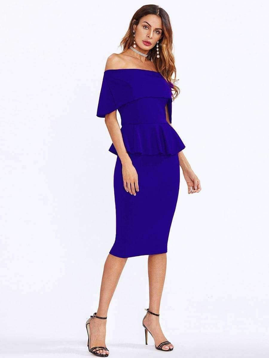9411f1eed33ff9 Get comfy now - and never pay too much again! Layered Neckline Peplum Dress  now
