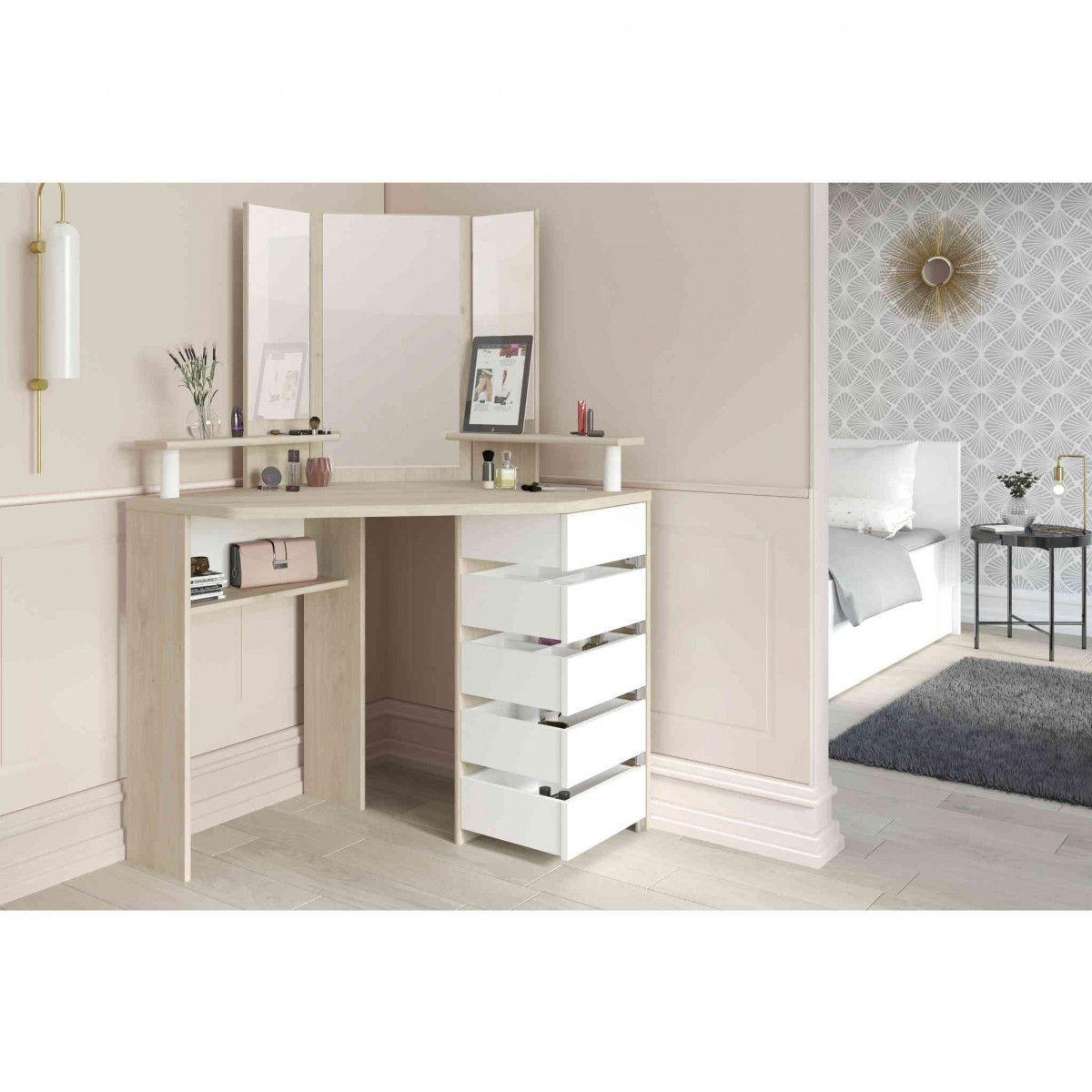 Coiffeuse coloris chêne, blanc avec miroir, rangements CF1030 | Miroir coiffeuse, Coiffeuse en ...