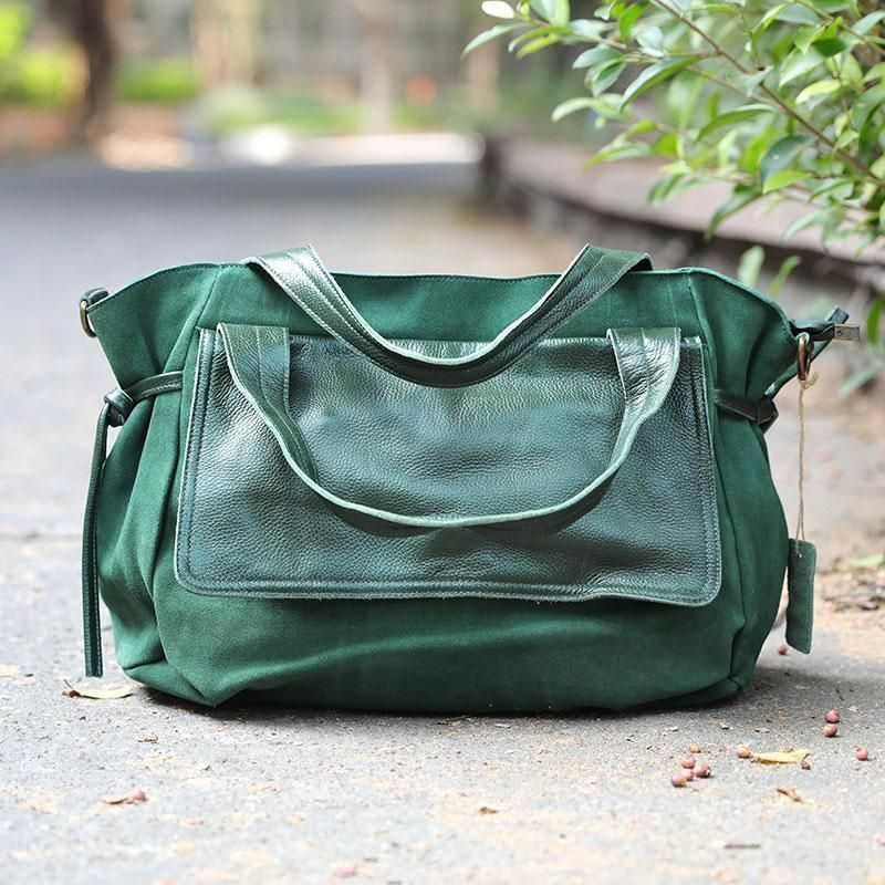 f25f07f95d1 Canvas Leather Splicing Durable Dark Green Handbag Shoulder Bag - Buykud