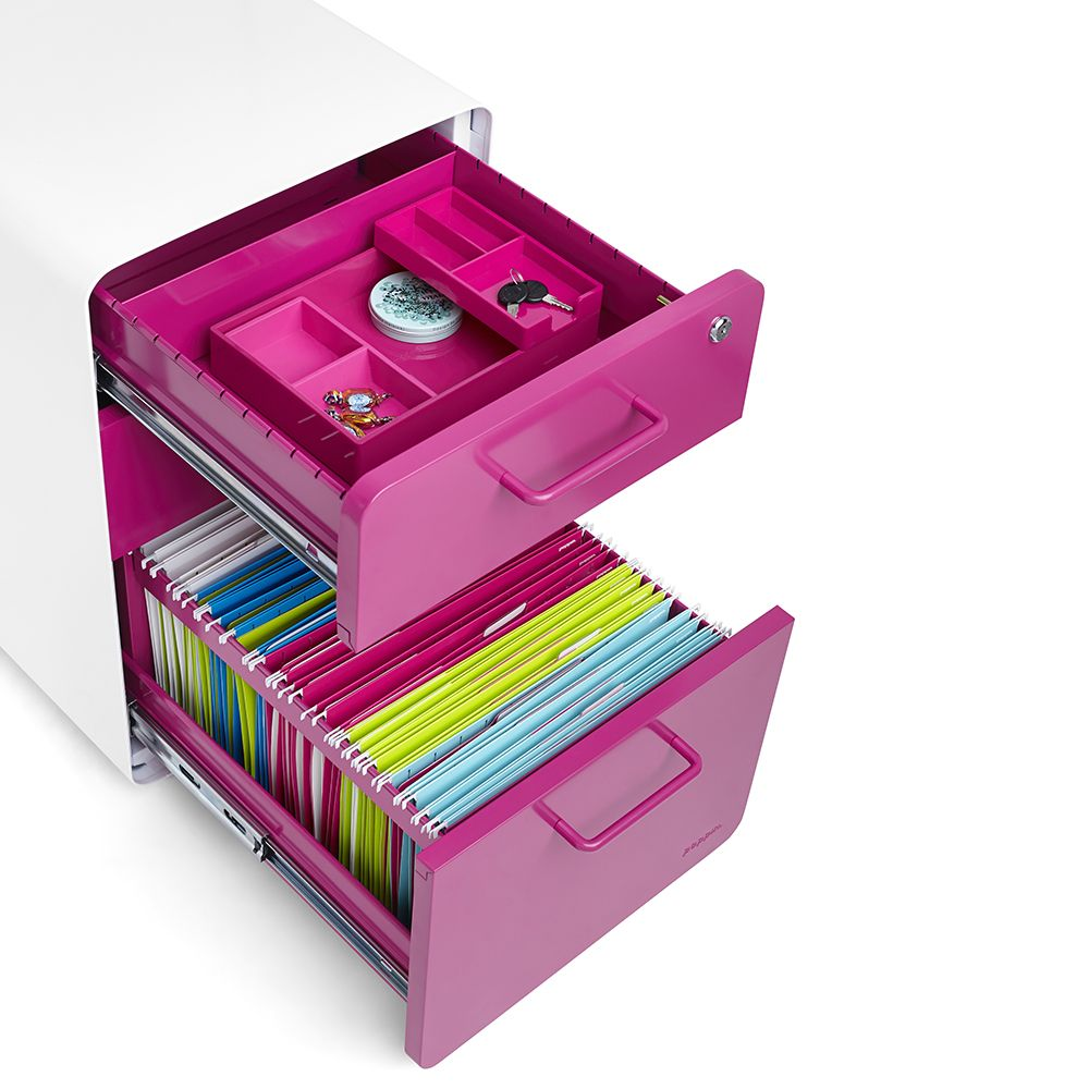 cool office supplies. Poppin Pink Stow 3 Drawer File Cabinet | Modern Desk Accessories Cool Office Supplies #