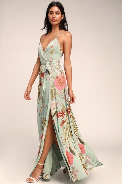 Still the One Sage Green Floral Print Satin Maxi Dress #sagegreendress
