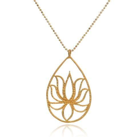 Gold Etched Lotus Necklace