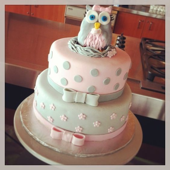 Pink And Grey Owl Baby Shower Cake