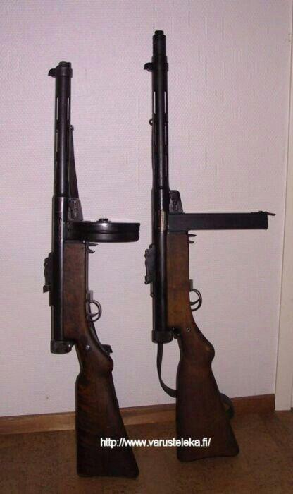 Left Kp M31 Suomi Degtaryev Ppd 31 Smg W 50rd Box Mag Guns
