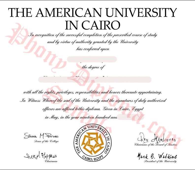American University in Cairo Egypt Fake Diploma Sample from - sample graduation certificate