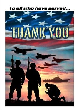 """Thank You"" to all those who faithfully serve to protect our freedom. This is a real card that can be sent for free to them."
