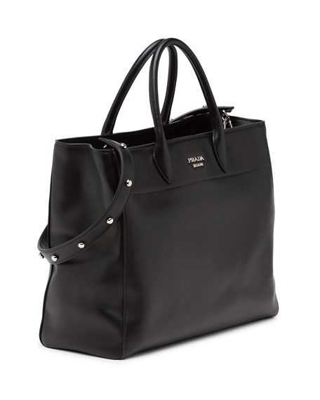 3db0d3ae572b Prada City Calfskin Tote Bag with Studded Strap