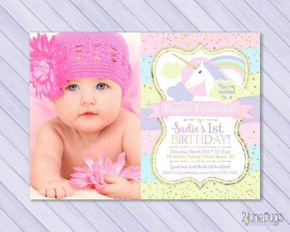 Unicorn First Birthday Invitation 1st Magical Pastel Rainb