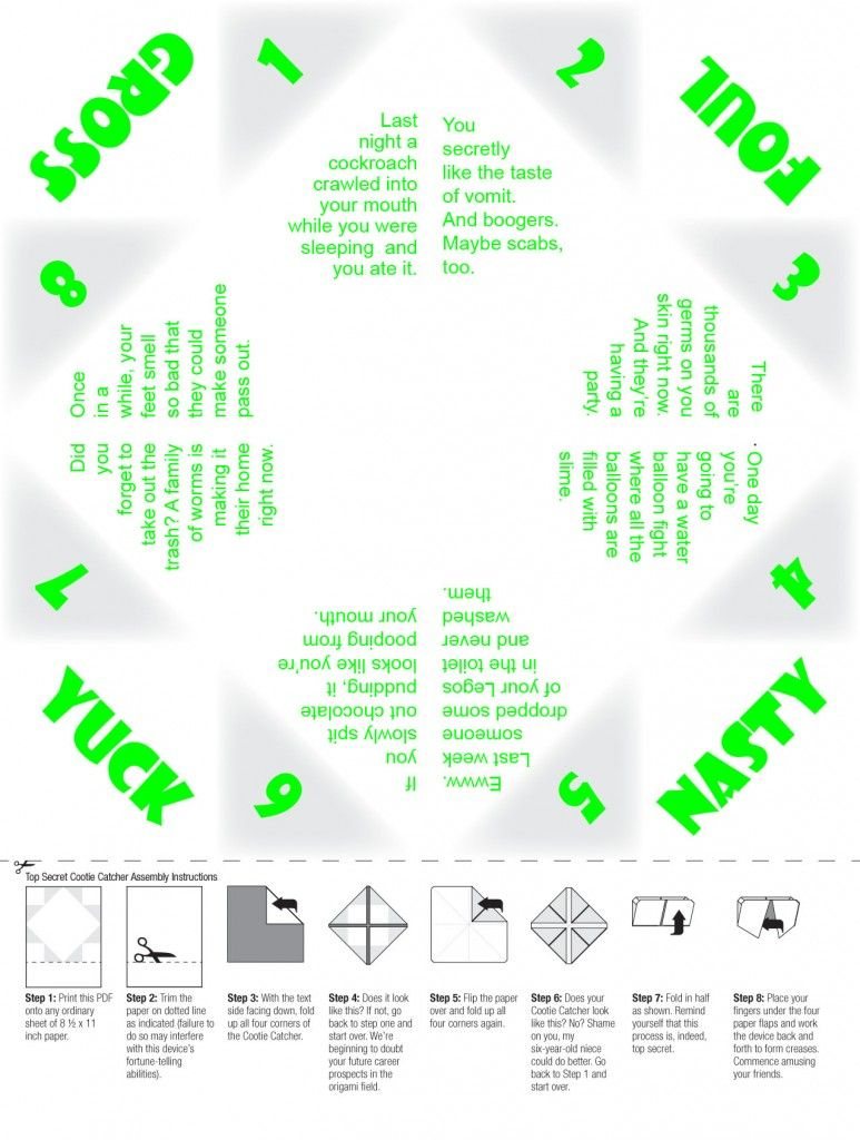 Ultimate gross-out cootie catcher for little boys (free printable ...
