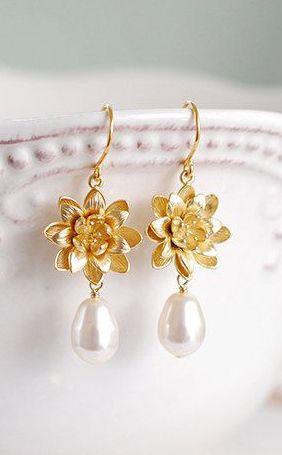 Gold Lotus Cream Pearl Earrings Yoga Jewelry