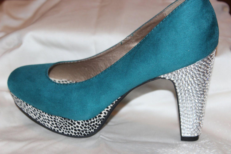 Teal high heels with bling, aqua high heels, Swarovski crystal heels ...