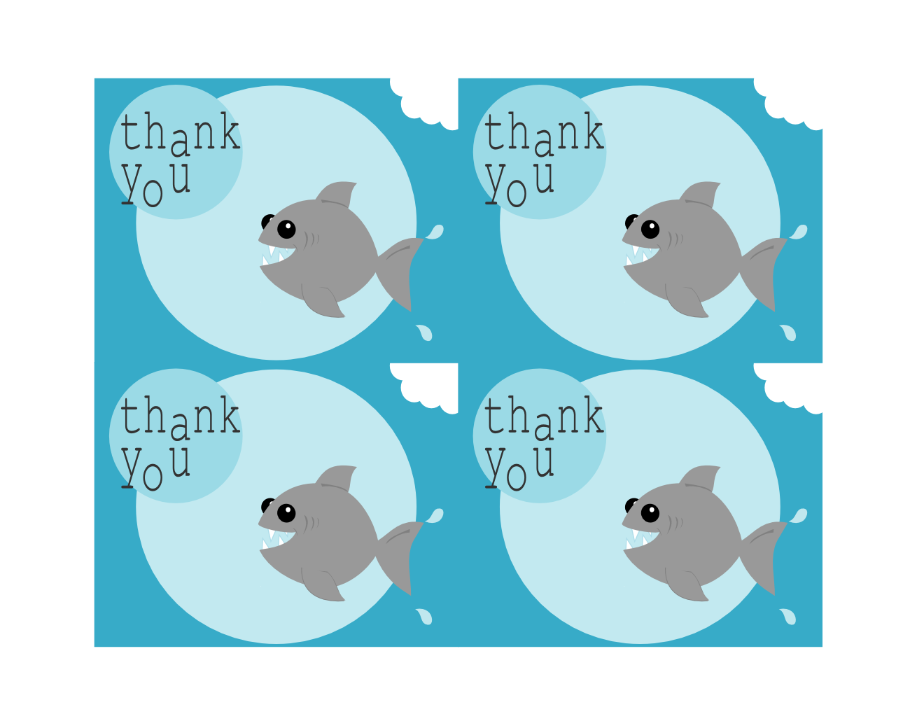 TriciaRennea Illustrator Free Printable Shark Thank You Cards - Free shark birthday invitation template
