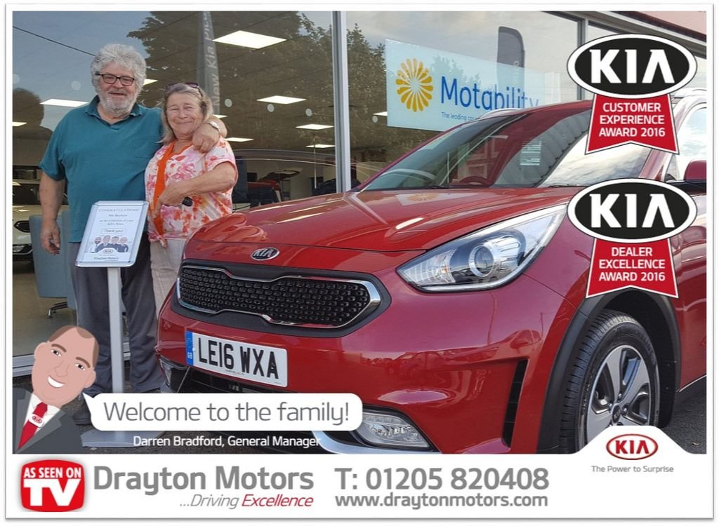 Pictured Is Christine Beckett And Her Partner Collecting Their Kia Niro From Martin Christine Is A Returning Customer Kia Drayton Welcome To The Family