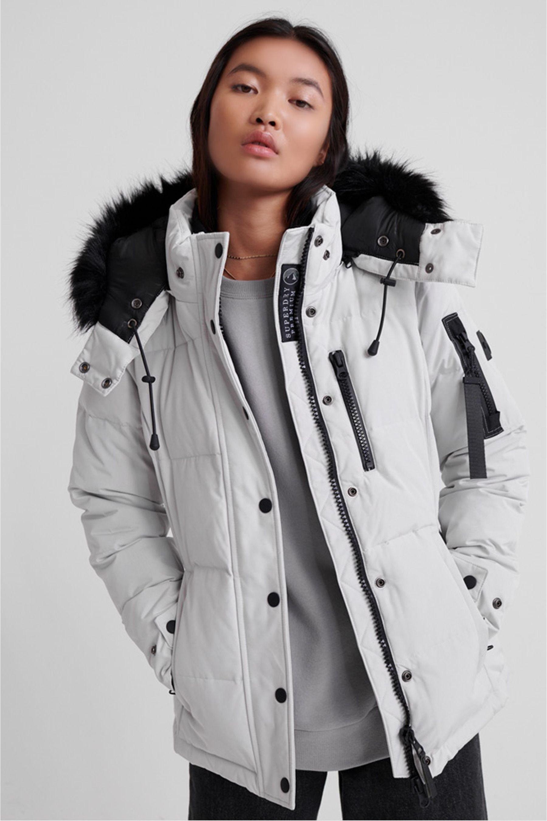 Womens Superdry Premium Down New Rescue Jacket Grey