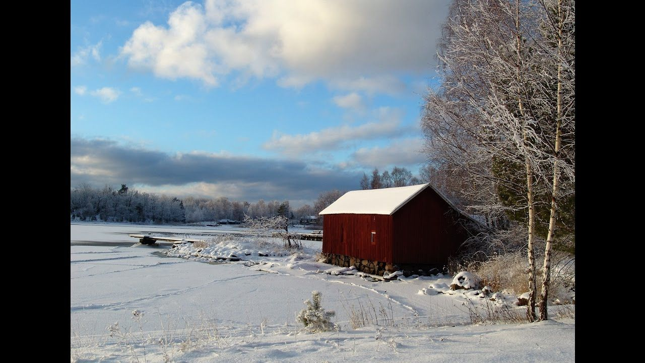 Snowy Winter Landscape with Red Barn Acrylic Painting ...